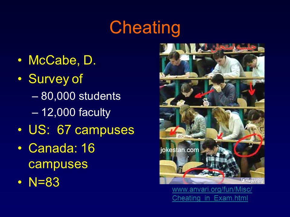 Cheating McCabe, D.