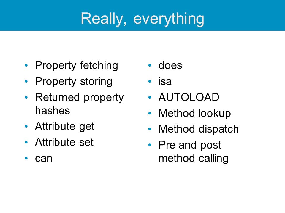Really, everything Property fetching Property storing Returned property hashes Attribute get Attribute set can does isa AUTOLOAD Method lookup Method
