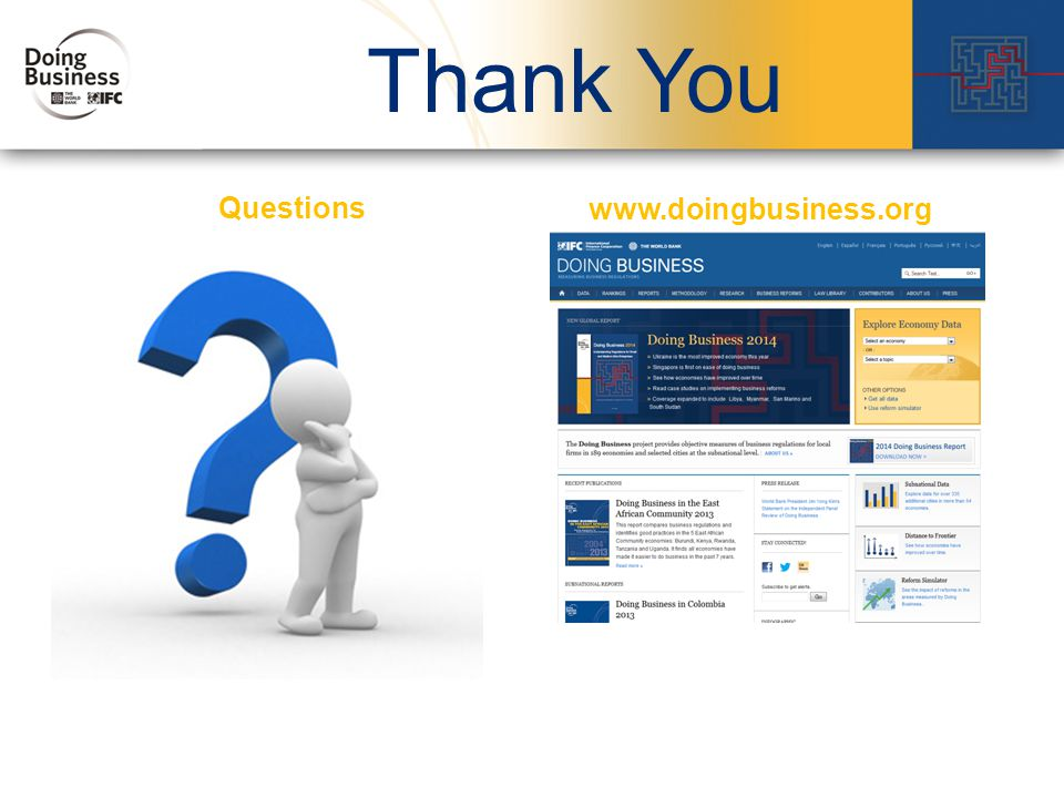 32 Thank You www.doingbusiness.org Questions