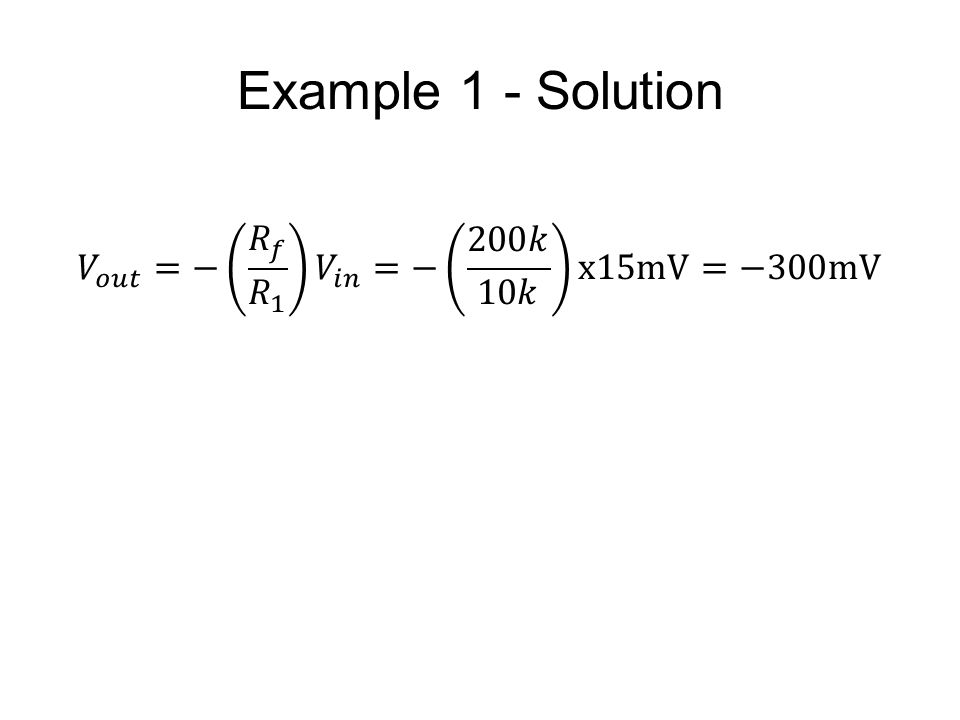 Example 1 - Solution