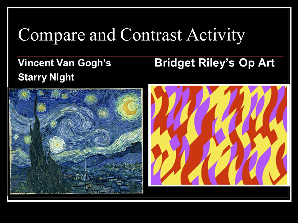 Compare and Contrast Activity Vincent Van Gogh's Starry Night Bridget Riley's Op Art