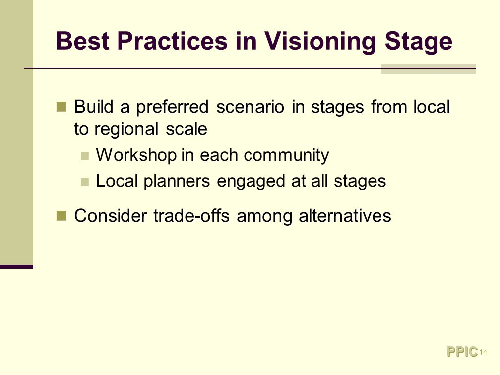 14 Best Practices in Visioning Stage Build a preferred scenario in stages from local to regional scale Build a preferred scenario in stages from local to regional scale Workshop in each community Local planners engaged at all stages Consider trade-offs among alternatives Consider trade-offs among alternatives