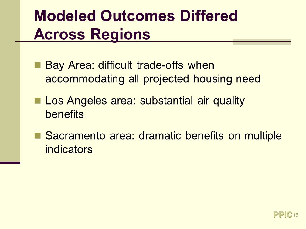 15 Modeled Outcomes Differed Across Regions Bay Area: difficult trade-offs when accommodating all projected housing need Bay Area: difficult trade-offs when accommodating all projected housing need Los Angeles area: substantial air quality benefits Los Angeles area: substantial air quality benefits Sacramento area: dramatic benefits on multiple indicators Sacramento area: dramatic benefits on multiple indicators