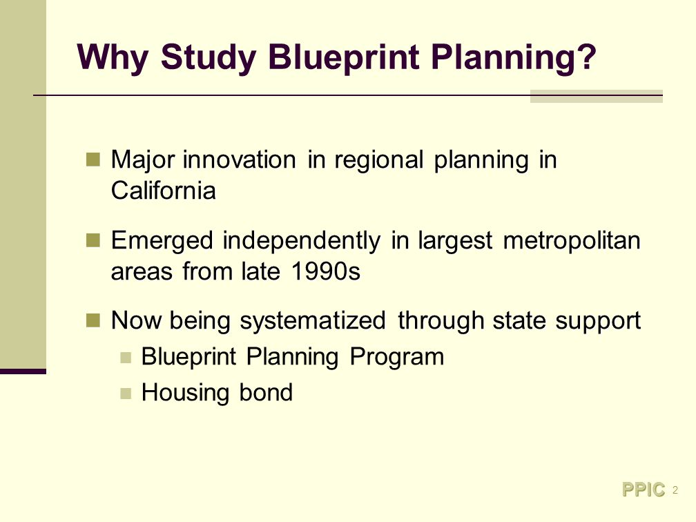 2 Why Study Blueprint Planning.