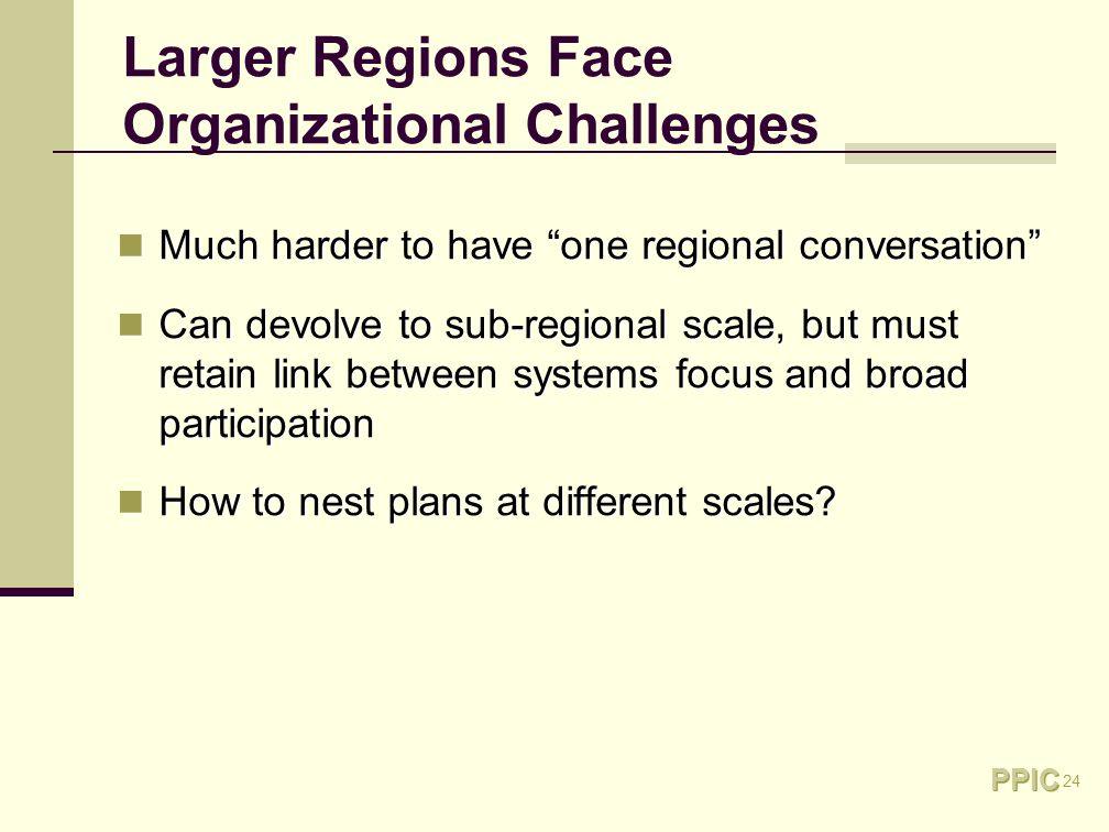24 Larger Regions Face Organizational Challenges Much harder to have one regional conversation Much harder to have one regional conversation Can devolve to sub-regional scale, but must retain link between systems focus and broad participation Can devolve to sub-regional scale, but must retain link between systems focus and broad participation How to nest plans at different scales.