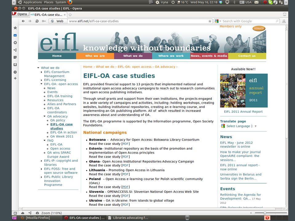 Thank you! Questions? iryna.kuchma@eifl.net