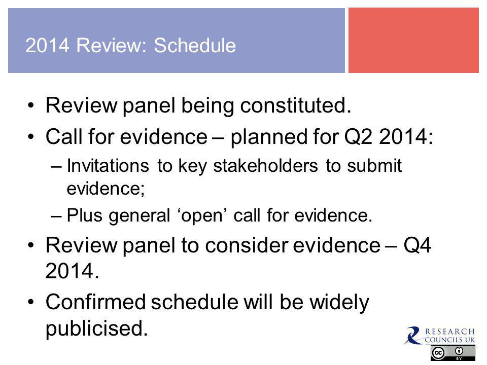 2014 Review: Schedule Review panel being constituted.