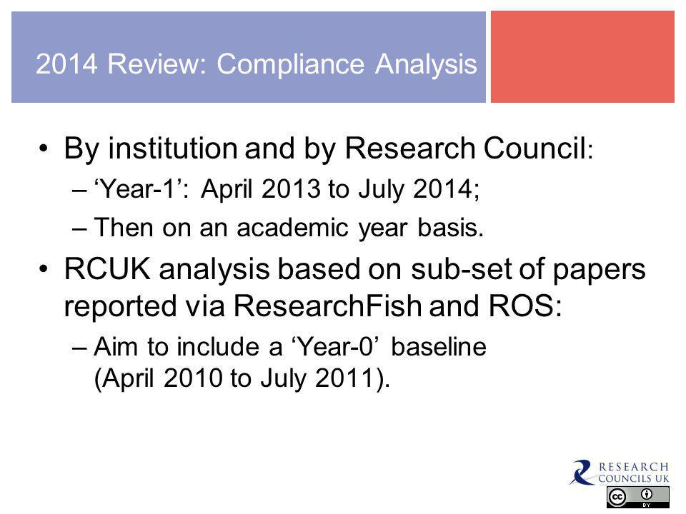 2014 Review: Compliance Analysis By institution and by Research Council : –'Year-1': April 2013 to July 2014; –Then on an academic year basis.