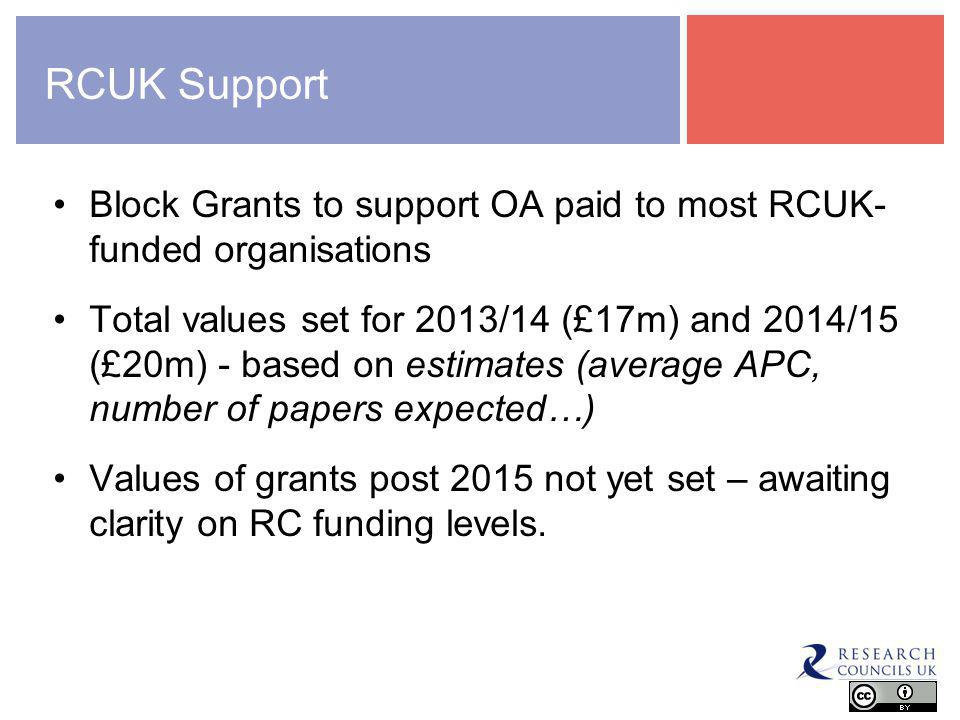 RCUK Support Block Grants to support OA paid to most RCUK- funded organisations Total values set for 2013/14 (£17m) and 2014/15 (£20m) - based on estimates (average APC, number of papers expected…) Values of grants post 2015 not yet set – awaiting clarity on RC funding levels.
