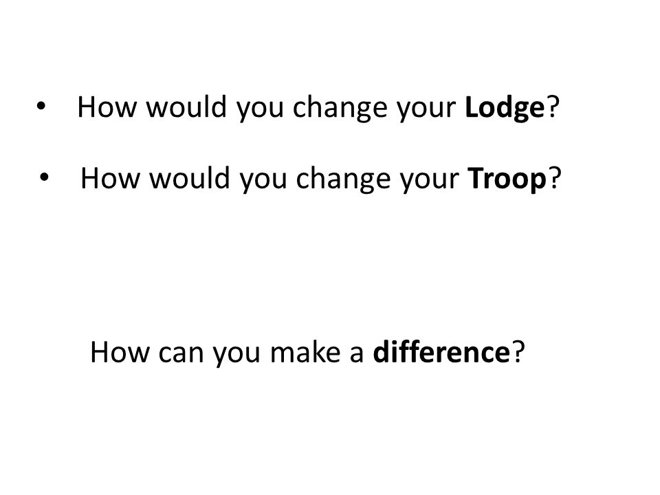 How would you change your Lodge? How would you change your Troop? How can you make a difference?