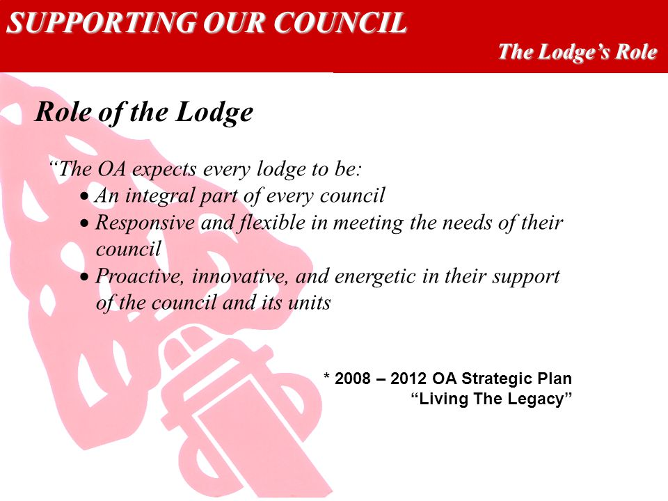 SUPPORTING OUR COUNCIL The Lodge's Role The OA expects every lodge to be:  An integral part of every council  Responsive and flexible in meeting the needs of their council  Proactive, innovative, and energetic in their support of the council and its units Role of the Lodge * 2008 – 2012 OA Strategic Plan Living The Legacy