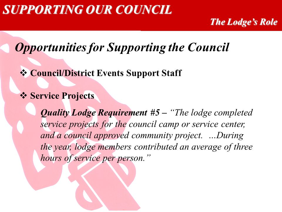 SUPPORTING OUR COUNCIL The Lodge's Role  Council/District Events Support Staff  Service Projects Quality Lodge Requirement #5 – The lodge completed service projects for the council camp or service center, and a council approved community project.