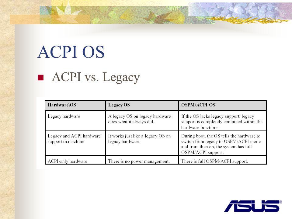 ACPI OS ACPI vs. Legacy