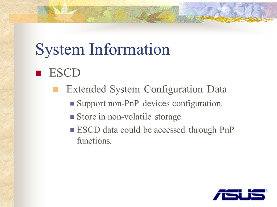 System Information ESCD Extended System Configuration Data Support non-PnP devices configuration.