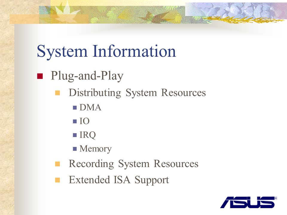 System Information Plug-and-Play Distributing System Resources DMA IO IRQ Memory Recording System Resources Extended ISA Support