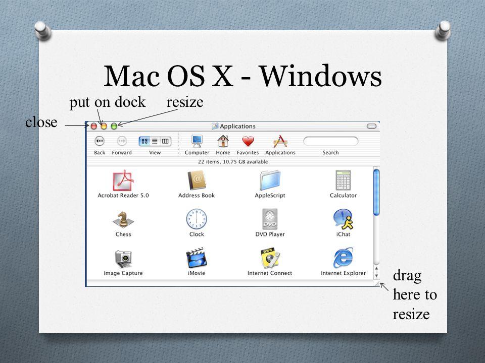 Mac OS X - Windows close put on dockresize drag here to resize