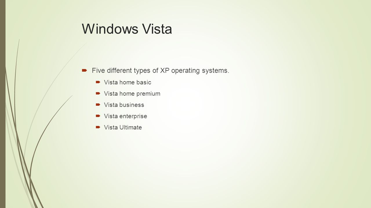 Windows Vista  Five different types of XP operating systems.