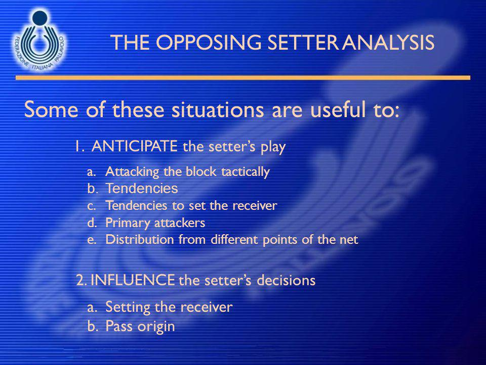 THE OPPOSING SETTER ANALYSIS Some of these situations are useful to: 1.ANTICIPATE the setter's play 2. INFLUENCE the setter's decisions a.Setting the