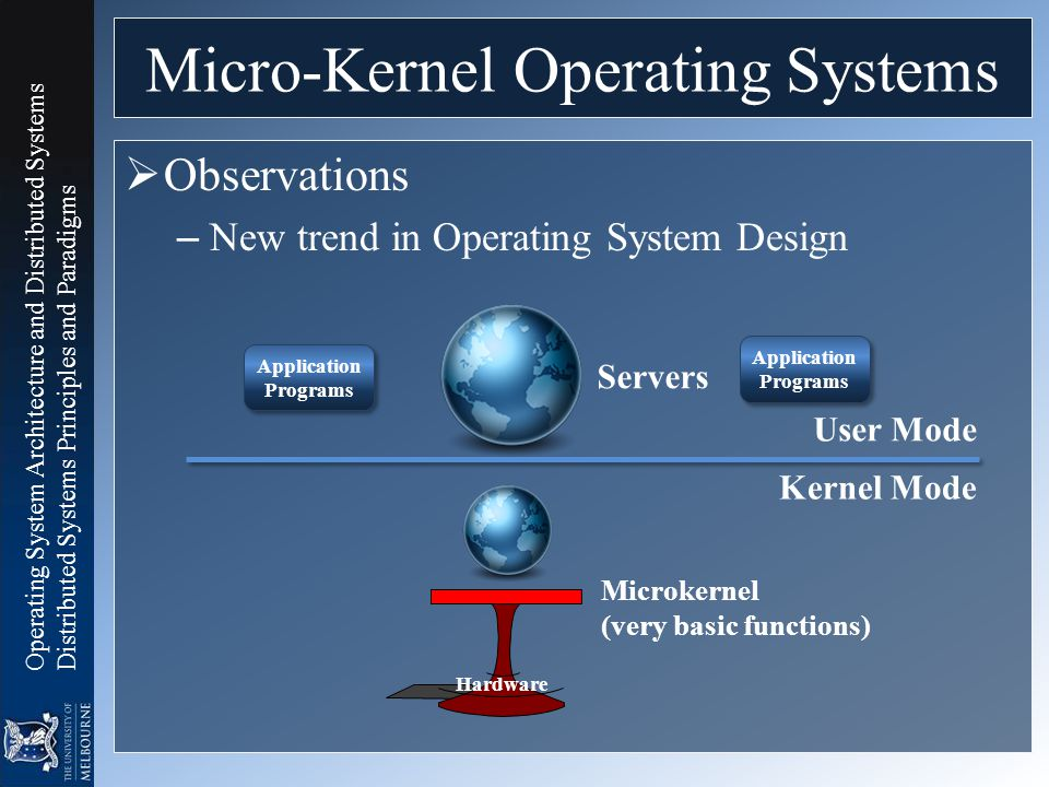 Operating System Architecture and Distributed Systems Distributed Systems Principles and Paradigms Micro-Kernel Operating Systems  Observations – New