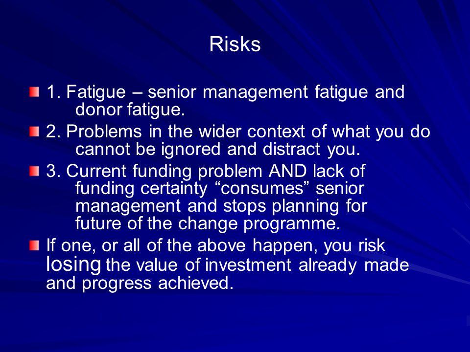 Risks 1. Fatigue – senior management fatigue and donor fatigue.