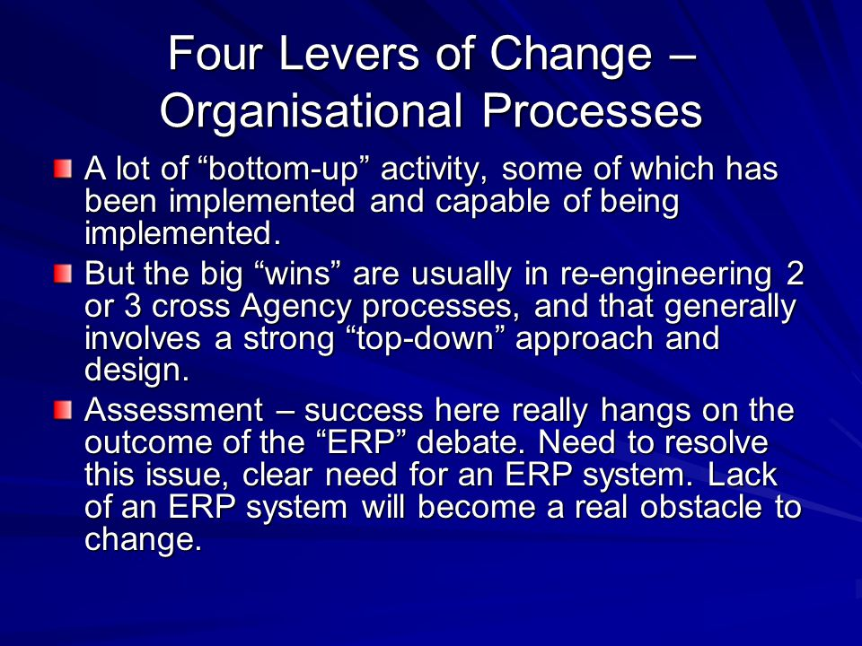 Four Levers of Change – Organisational Processes A lot of bottom-up activity, some of which has been implemented and capable of being implemented.
