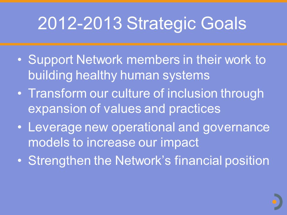 2012-2013 Strategic Goals Support Network members in their work to building healthy human systems Transform our culture of inclusion through expansion of values and practices Leverage new operational and governance models to increase our impact Strengthen the Network's financial position