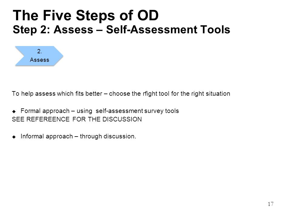 17 The Five Steps of OD Step 2: Assess – Self-Assessment Tools To help assess which fits better – choose the rfight tool for the right situation  Formal approach – using self-assessment survey tools SEE REFEREENCE FOR THE DISCUSSION  Informal approach – through discussion.