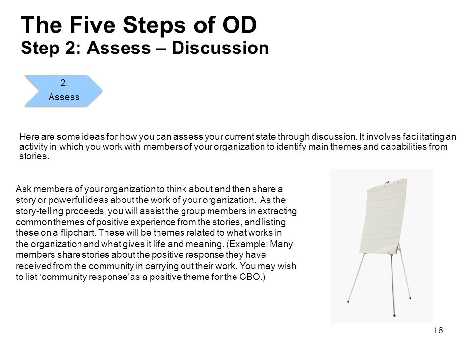 18 The Five Steps of OD Step 2: Assess – Discussion Here are some ideas for how you can assess your current state through discussion.