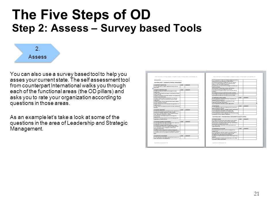 21 The Five Steps of OD Step 2: Assess – Survey based Tools You can also use a survey based tool to help you asses your current state.