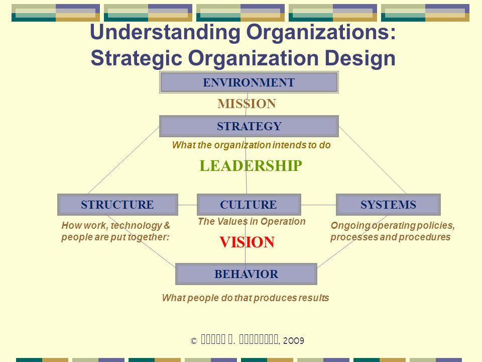 Understanding Organizations: Strategic Organization Design STRATEGY CULTURE BEHAVIOR SYSTEMSSTRUCTURE VISION LEADERSHIP © David W. Jamieson, 2009 ENVI