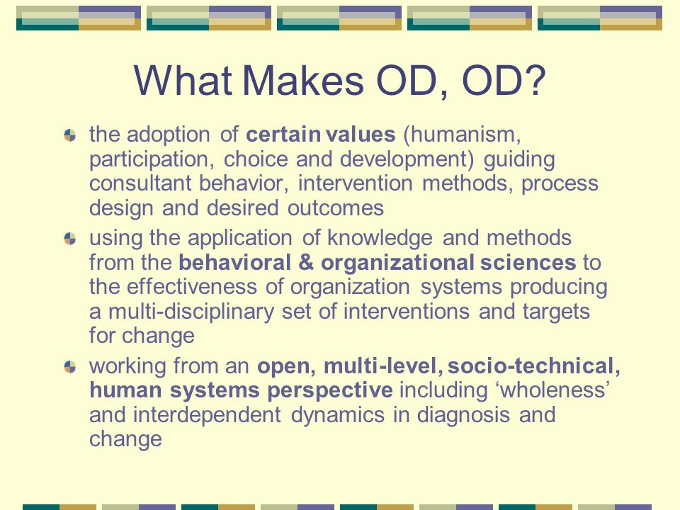 What Makes OD, OD.