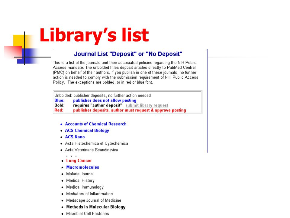 Library's list...