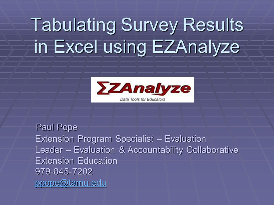 Continue entering surveys until all 20 are in the spreadsheet.