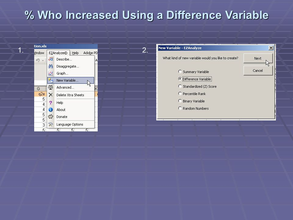 % Who Increased Using a Difference Variable 1.2.