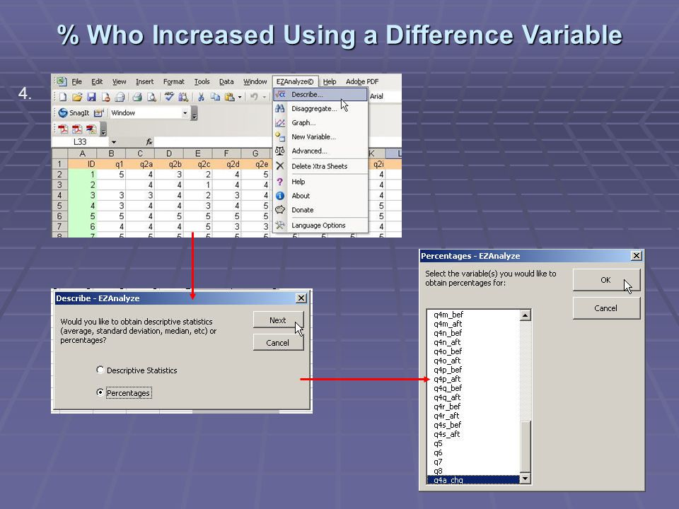 % Who Increased Using a Difference Variable 4.