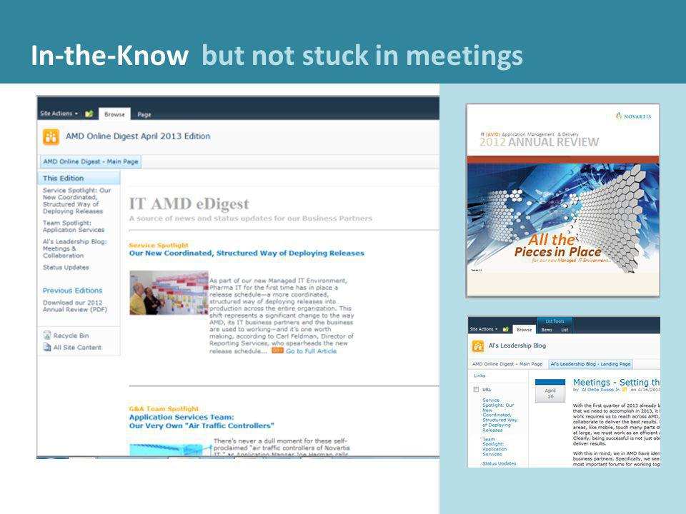 In-the-Know In-the-Know but not stuck in meetings