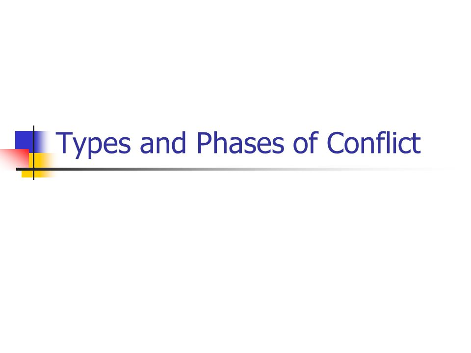 Types and Phases of Conflict