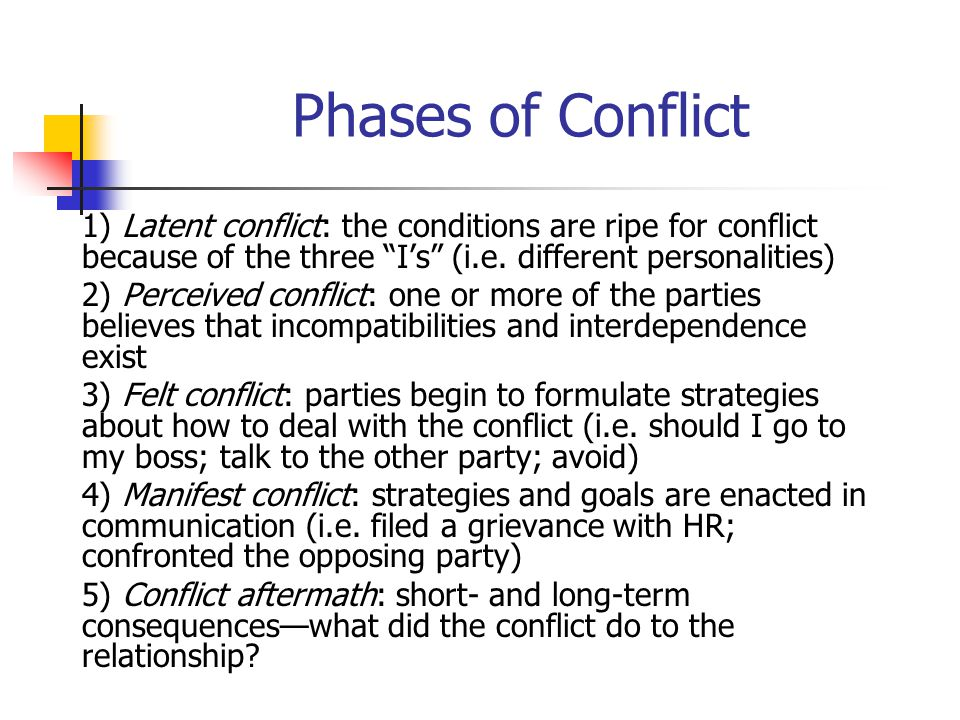 "Phases of Conflict 1) Latent conflict: the conditions are ripe for conflict because of the three ""I's"" (i.e. different personalities) 2) Perceived con"
