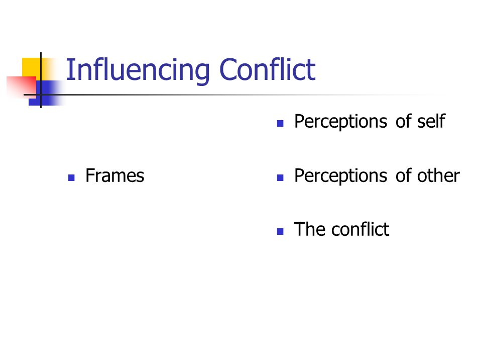 Influencing Conflict Frames Perceptions of self Perceptions of other The conflict