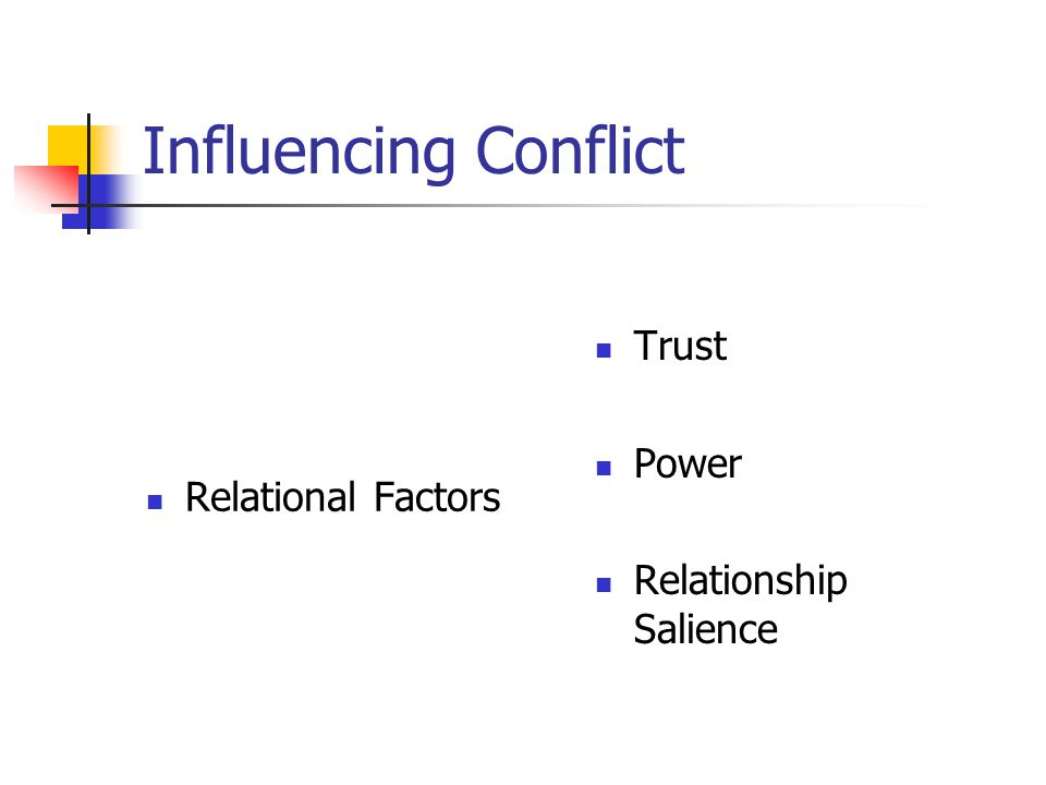 Influencing Conflict Relational Factors Trust Power Relationship Salience