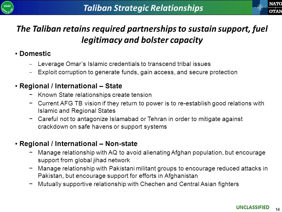 14 NATO OTAN Taliban Strategic Relationships The Taliban retains required partnerships to sustain support, fuel legitimacy and bolster capacity Domestic − Leverage Omar's Islamic credentials to transcend tribal issues − Exploit corruption to generate funds, gain access, and secure protection Regional / International – State −Known State relationships create tension −Current AFG TB vision if they return to power is to re-establish good relations with Islamic and Regional States −Careful not to antagonize Islamabad or Tehran in order to mitigate against crackdown on safe havens or support systems Regional / International – Non-state −Manage relationship with AQ to avoid alienating Afghan population, but encourage support from global jihad network −Manage relationship with Pakistani militant groups to encourage reduced attacks in Pakistan, but encourage support for efforts in Afghanistan −Mutually supportive relationship with Chechen and Central Asian fighters UNCLASSIFIED