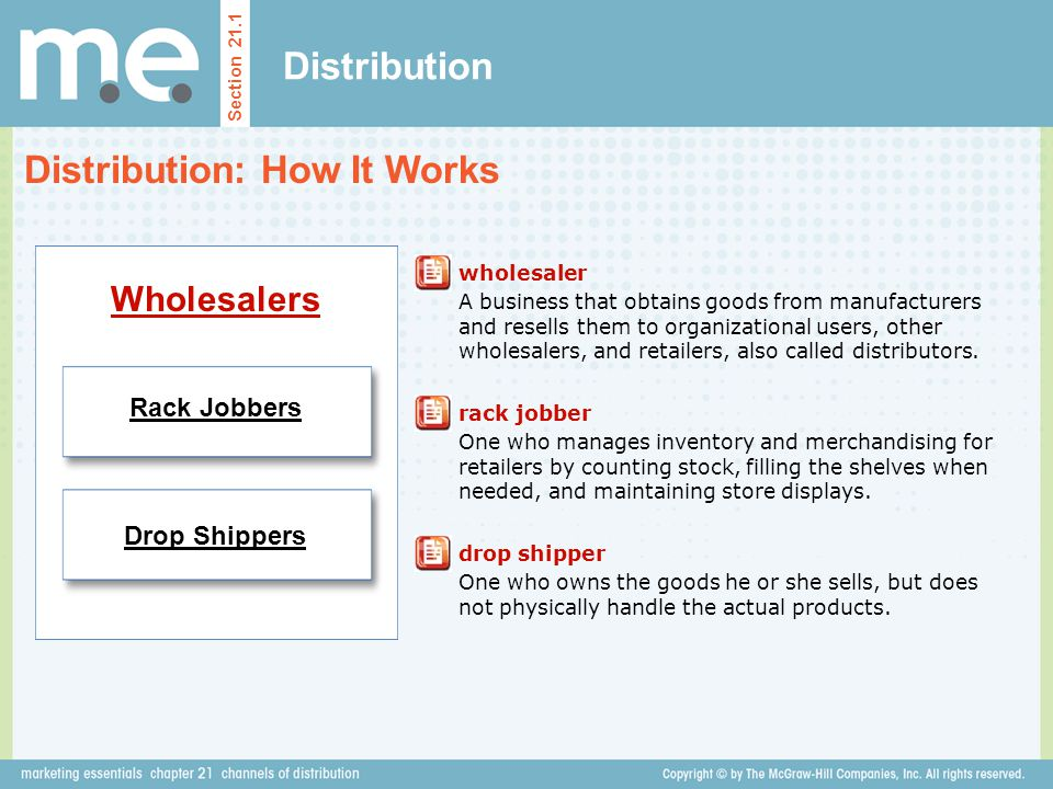 Distribution Distribution: How It Works Section 21.1 Wholesalers wholesaler A business that obtains goods from manufacturers and resells them to organ