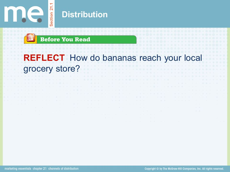 REFLECT How do bananas reach your local grocery store? Distribution Section 21.1