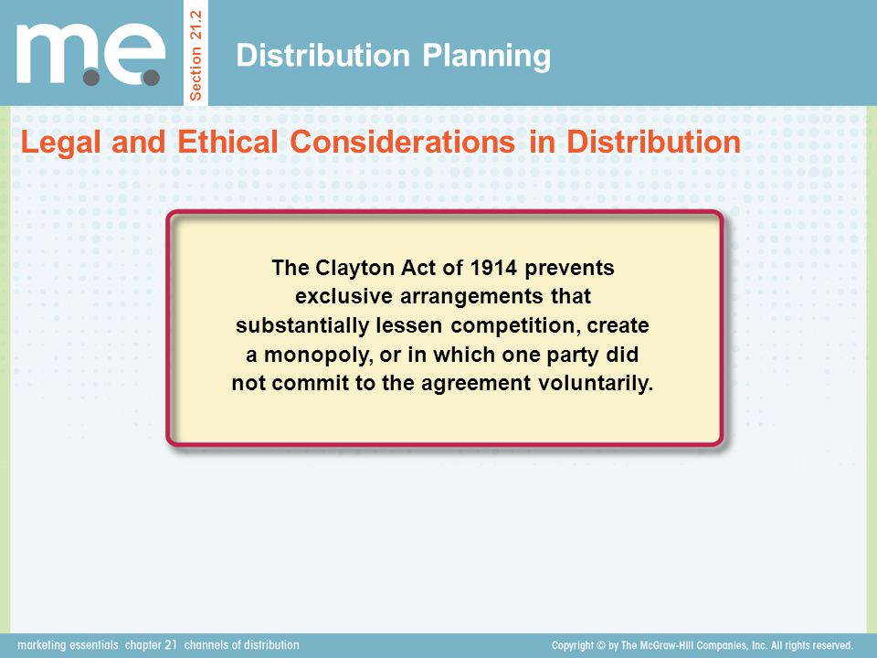 Distribution Planning Section 21.2 Legal and Ethical Considerations in Distribution The Clayton Act of 1914 prevents exclusive arrangements that subst