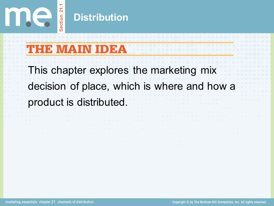 This chapter explores the marketing mix decision of place, which is where and how a product is distributed. Distribution Section 21.1