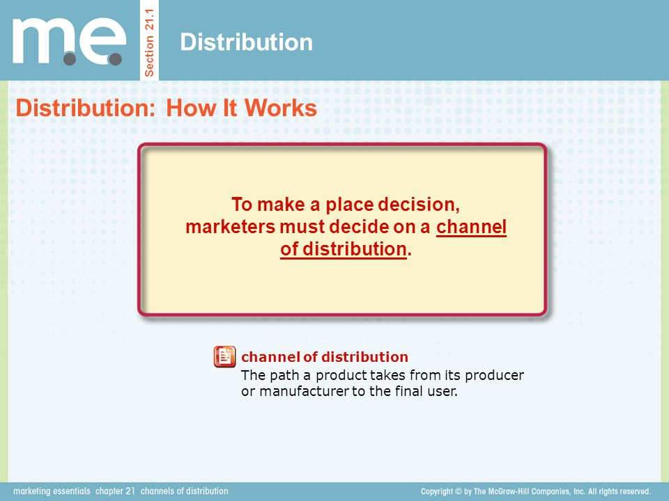 Distribution Section 21.1 To make a place decision, marketers must decide on a channel of distribution. channel of distribution The path a product tak