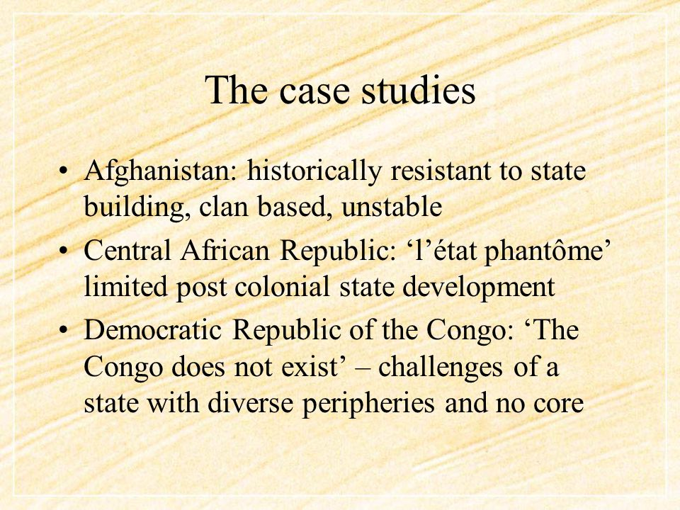 The Case Studies Haïti: a state in perpetual ensekurite – earthquakes, cyclones, disease outbreaks, political instability: 'routinized ruptures' Palestine: the 'state-in-waiting', paralysed by internal factions and international politics Somalia: the economy with no apparent recognition of a state, nor of borders