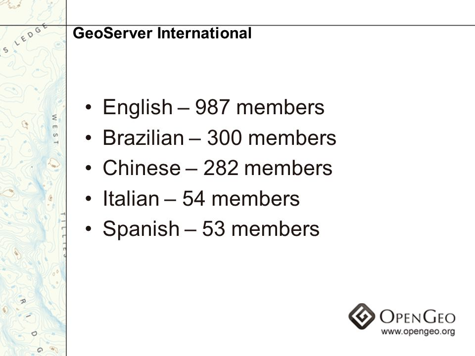 English – 987 members Brazilian – 300 members Chinese – 282 members Italian – 54 members Spanish – 53 members GeoServer International