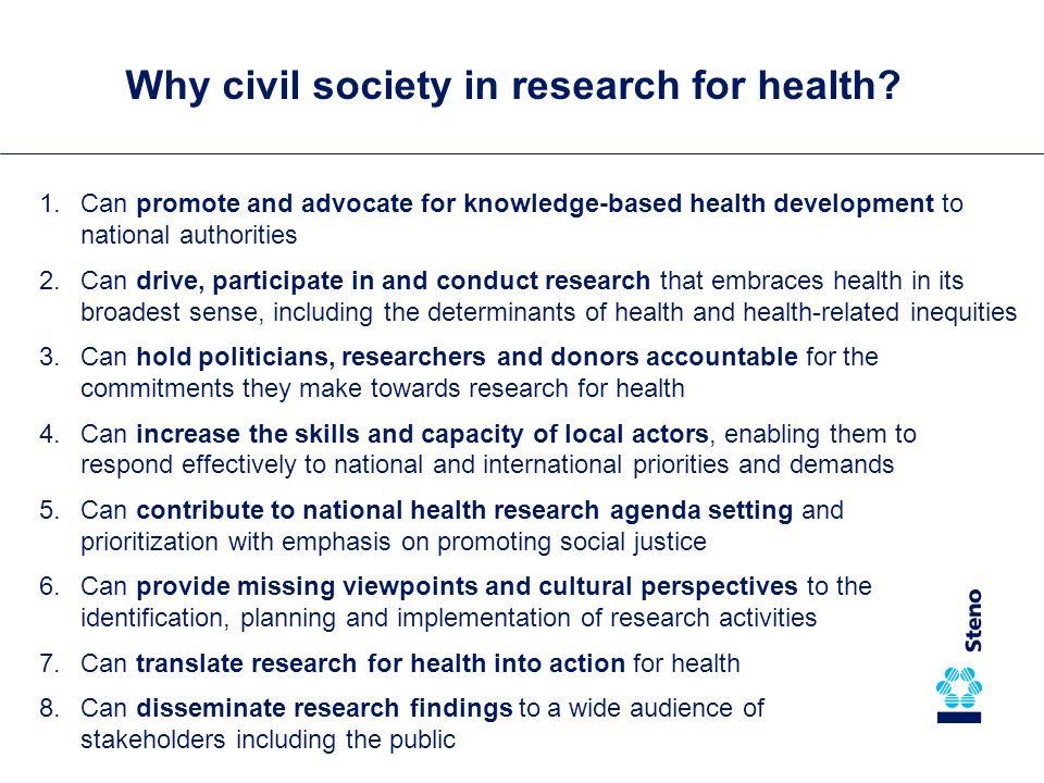 Why civil society in research for health.