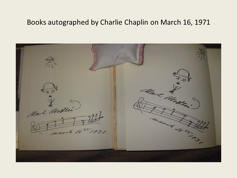Books autographed by Charlie Chaplin on March 16, 1971